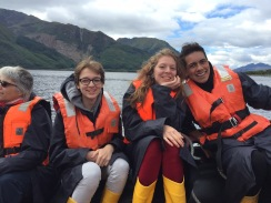 Enjoying boat ride in Loch Leven